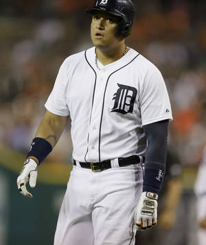 Photo - Detroit Tigers' Miguel Cabrera walks back to the dugout after flying out during the sixth inning of a baseball game against the Tampa Bay Rays in Detroit, Sunday, July 6, 2014. (AP Photo/Carlos Osorio)