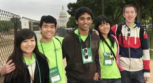 Photo - The Edmond Santa Fe High School science team visits the National Mall on April 28 as part of their trip to Washington to compete in the U.S. Department of Energy National Science Bowl. From left are Julia Zhu, Brandon Wong, Steven Kappen, Jane Hsi and Jacob Rowe. Photo by Dennis Brack, U.S. Department of Energy, Office of Science
