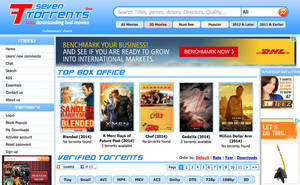 Photo - This screen shot shows the home page for the website seventorrents.org, featuring a banner ad for shipping company DHL. Movie and music piracy thrives online in part because crafty website operators are siphoning advertising dollars from major companies. That's the conclusion of several recent reports that shed light on Internet piracy's funding sources. (AP Photo)