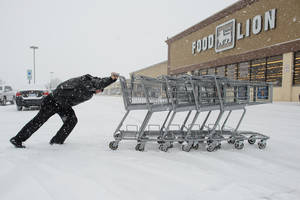 Photo - Jonathan Krobath struggles to push a row of shopping carts through the snow Wednesday, Feb. 12, 2014, at Food Lion in Hope Mills, N.C. (AP Photo/The Fayetteville Observer, Andrew Craft) MANDATORY CREDIT, MAGS OUT. NO SALES
