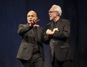 "Photo - This theater publicity image released by Boneau/Bryan-Brown shows Omar Sangare, left, and John Guare in ""3 Kinds of Exile,"" by John Guare, currently performing off-Broadway at the  Atlantic Theater Company in New York.  (AP Photo/Boneau/Bryan-Brown, Kevin Thomas Garcia)"