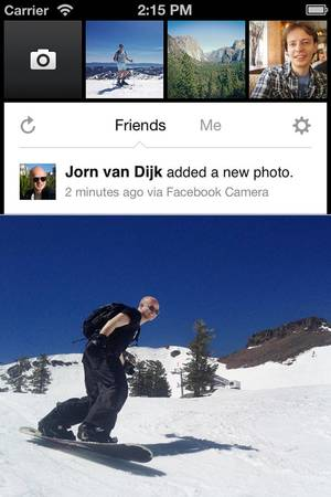 photo - Facebook's new camera app is unveiled Thursday. The app, made for the iPhone, can be downloaded from Apple's App Store. AP Photo