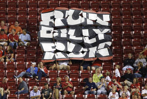 "Photo - Cincinnati Reds fans display a sign - ""Run Billy Run"" - in the seventh inning of the Reds' baseball game against the St. Louis Cardinals, Tuesday, Sept. 3, 2013, in Cincinnati. Reds' Billy Hamilton, in his debut in the majors, scored the game's only run. (AP Photo/Al Behrman)"