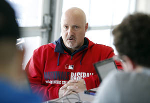 Photo - Washington Nationals general manager Mike Rizzo speaks during a media availability at their spring training baseball facility, Thursday, Feb. 13, 2014, in VIera, Fla. (AP Photo/Alex Brandon)
