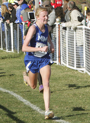 Photo - Mount St. Mary's Audrey Campbell comes in third in the Girls 4A State Cross Country Finals at Edmond Santa Fe High School in Edmond, OK, Saturday, October 27, 2012,  By Paul Hellstern, The Oklahoman