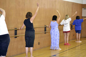 "Photo - ""Movement Without Limitations"" students practice at the barre.  Photo provided"