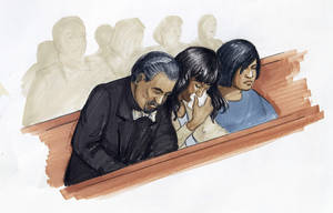 Photo -   In this courtroom sketch, singer and actress Jennifer Hudson, center, along with her fiance David Otunga, and sister Julia Hudson react in court in Chicago, Friday, May 11, 2012, after a jury convicted William Balfour for the October 2008 killings of her mother, brother and nephew. Balfour faces a mandatory life prison sentence. (AP Photo/Tom Gianni)