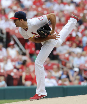 Photo - St. Louis Cardinals starting pitcher Michael Wacha throws to a Pittsburgh Pirates batter in the first inning in a baseball game Sunday, Sept. 8, 2013, at Busch Stadium in St. Louis. (AP Photo/Bill Boyce)