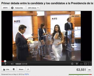 Photo -   In this screen grab taken from Mexico's Federal Electoral Institute's YouTube channel, Julia Orayen, second from right, carries a box to presidential candidates containing paper for them to take to assign their speaking order at the start of a presidential candidate debate in Mexico City, Sunday, May 6, 2012. The Federal Election Commission, which organized the debate, said an independent producer had hired the former model, and acknowledged that her dress choice was a mistake. (AP Photo/IFETV via YouTube)