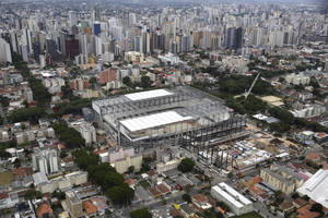 Photo - An aerial view of the Arena da Baixada stadium in Curitiba, Brazil, Saturday, Dec.14 2013. Workers went on strike over late pay at one of the stadiums enduring the longest delays ahead of the World Cup in Brazil, officials said Saturday. The work stoppage happened in the southern city of Curitiba, where world champion Spain is expected to be based during football's showcase event next year. (AP Photo/Renata Brito)