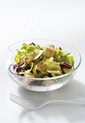"Photo - Chicken salad with roasted root vegetables, from Giada de Laurentis' ""Feel Good Food."" (Amy Neunsinger/Fresno Bee/MCT) <strong>Amy Neunsinger - MCT</strong>"