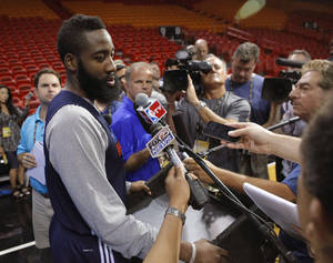 photo - Oklahoma City's James Harden answers questions the day before Game 4 of the NBA Finals between the Oklahoma City Thunder and the Miami Heat at American Airlines Arena, Monday, June 18, 2012. Photo by Bryan Terry, The Oklahoman