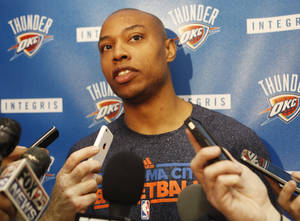 Photo - Thunder forward Caron Butler speaks to the media after practice at the Thunder Practice Facility in Oklahoma City on Monday, April 26, 2014. PHOTO BY KT KING, The Oklahoman