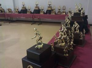 Photo - Trophies on display at the Perry wrestling reunion. PHOTO BY RYAN ABER, THE OKLAHOMAN
