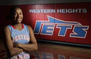 Photo - Western Heights basketball player Antoinet Webster, Thursday, February 2, 2012.Photo by David McDaniel, The Oklahoman <strong></strong>