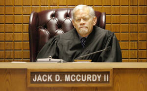 Photo - Special Judge Jack McCurdy II sits on the bench Wednesday during the preliminary hearing for Rebecca Bryan at the Canadian County Courthouse in El Reno.  Photos by Paul B. Southerland, The Oklahoman