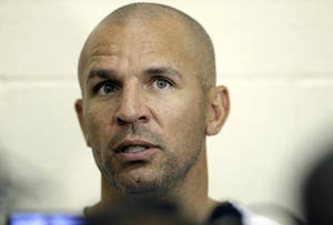 Photo - FILE - In this Wednesday, Oct. 2, 2013, file photo, Brooklyn Nets coach Jason Kidd speaks with the media at NBA basketball training camp at Duke University in Durham, N.C. Kidd has been suspended for two games for pleading guilty to driving while ability impaired. The NBA announced on Friday, Oct. 4, 2013, that Kidd will miss the first two games of the regular season starting on Oct. 29. (AP Photo/Gerry Broome, File)