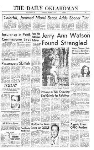 Photo - The Oklahoman reported on the discovery of Jerry Ann Watson in the Dec. 31, 1975, edition, shown above.