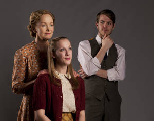 "Photo - The Wingfield family from Tennessee Williams' ""The Glass Menagerie."" Pictured from left are Amanda (Helen Hedman) Laura (Lindsay Pittman) and Tom (Alex John Enterline). Photo by Keith Rinearson"