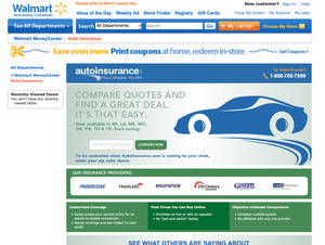 Photo - This framegrab of the Wal-Mart website shows the auto insurance shopping page taken Wednesday April 30, 2014. Wal-Mart is bringing one-stop shopping to another area: auto insurance. The world's largest retailer has teamed up with AutoInsurance.com to let shoppers quickly find and buy insurance policies online in real time to cut down costs. The service is available immediately in eight states including Arkansas, Louisiana, Mississippi, Missouri and Oklahoma, and will be available nationwide in the next few months. (AP Photo/Wal-Mart.com)
