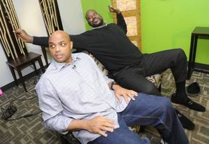 Photo - Charles Barkley, left, and Shaquille O'Neal wrap up an interview at TNT studios on Thursday. Barkley said the Clippers might be the best team in Los Angeles. AP PHOTO