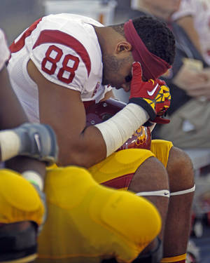 Photo -   Southern California's Jalen Cope-Fitzpatrick reacts during the second half of an NCAA college football game against Arizona at Arizona Stadium in Tucson, Ariz., Sat., Oct. 27, 2012. Arizona won 39-36. (AP Photo/Wily Low)