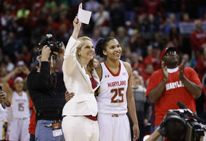 Photo - Maryland coach Brenda Frese, left, and forward Alyssa Thomas react as a banner honoring Thomas is unveiled after an NCAA college basketball game against Virginia Tech in College Park, Md., Sunday, March 2, 2014. (AP Photo/Patrick Semansky)