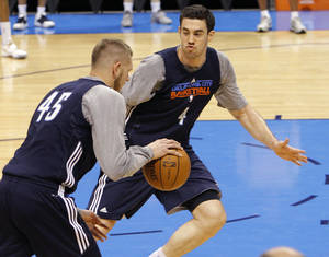 Photo - Oklahoma City's Nick Collison and Cole Aldrich go through drills during the NBA Finals practice day at the Chesapeake Energy Arena on Monday, June 11, 2012, in Oklahoma City, Okla. Photo by Chris Landsberger, The Oklahoman