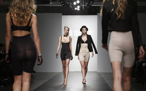 Photo - Models walk the runway during the presentation of the GS Shop Lingerie show featuring Spanx, Wonderbra, Platex and Anna Sui during Fashion Week Tuesday, Feb. 4, 2014, in New York. (AP Photo/Kathy Willens)