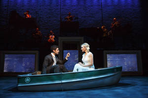 "Photo - This theater image released by The Hartman group shows Adam Kantor, left, and Betsy Wolfe during a performance of ""The Last Five Years,"" in New York. (AP Photo/The Hartman Group, Joan Marcus)"