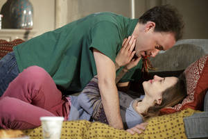 "Photo - This theater image released by Richard Kornberg & Associates shows Greg Keller, top, and Maria Dizzia in a scene from Amy Herzog's new play, ""Belleville"", performing off-Broadway at New York Theatre Workshop in New York.  (AP Photo/Richard Kornberg & Associates, Joan Marcus)"