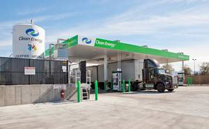 Photo - Clean Energy Fuels opened this liquefied natural gas fueling station in Las Vegas in February. The company plans to open one in Oklahoma City by the end of July as part of a natural gas highway for heavy-duty trucks.  Photo provided