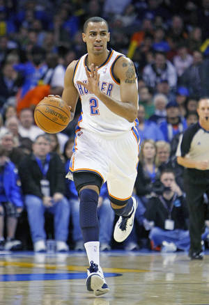 Photo - The Thunder's Thabo Sefolosha is more successful driving to the rim.   Photo by Hugh Scott, The Oklahoman