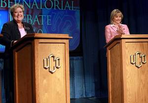 Photo - Mary Fallin and Jari Askins speak during a gubernatorial debate at the Nigh UNiversity Center on the campus of the University of Central Oklahoma in Edmond on Tuesday, Oct. 19, 2010. Photo by John Clanton, The Oklahoman ORG XMIT: KOD