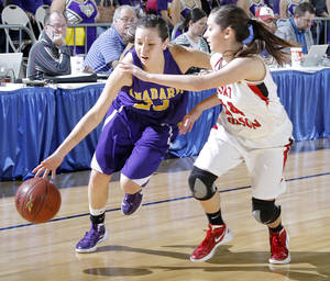 photo - FORT GIBSON / CLASS 4A GIRLS HIGH SCHOOL BASKETBALL / STATE TOURNAMENT: Anadarko&#039;s Lakota Beatty (23) drives past Ft. Gibson&#039;s Jodi Glover (14) during the 4A girl State Basketball Championship game between Ft. Gibson High School and Anadarko High School at State Fair Arena on Saturday, March 10, 2012 in Oklahoma City, Okla.  Photo by Chris Landsberger, The Oklahoman
