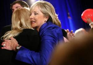 Photo - Oklahoma Gov.-Elect Mary Fallin hugs a supporter at a Republican watch party in Oklahoma City Nov. 2. Photo by John Clanton