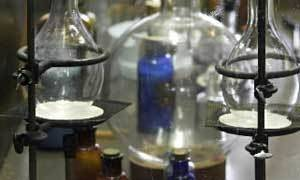 photo - 2002 file photo - Oklahoma Museum of Higher Education in Old Central on the Oklahoma State University campus in Stillwater.  Chemistry lab display in the basement. Staff Photo by David McDaniel.