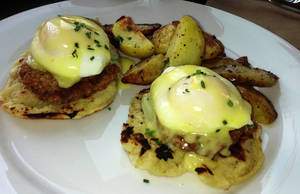 Photo - Fried Green Tomato Benedict at Kitchen 324 in downtown Oklahoma City. <strong>DAVE CATHEY - THE OKLAHOMAN</strong>