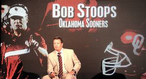 Photo - OU coach Bob Stoops couldn't answer many questions about his team during the recent Big 12 football media days. AP Photo