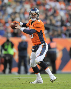 Photo - FILE - In this Dec. 23, 2012, file photo, Denver Broncos quarterback Peyton Manning sets up to throw a pass against the Cleveland Browns in the fourth quarter of an NFL football game in Denver. Manning was selected to the Pro Bowl on Wednesday, Dec. 26, 2012. (AP Photo/Jack Dempsey, File)