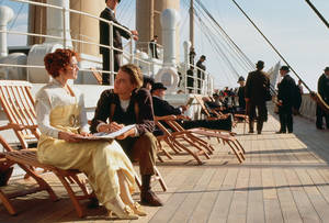 "Photo - Kate Winslet and Leonardo DoCaprio in a scene from ""Titanic."" PARAMOUNT PICTURES PHOTO <strong></strong>"