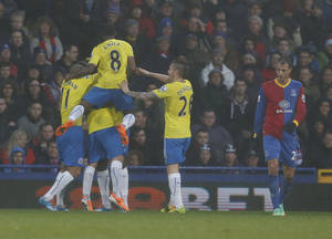 Photo - Newcastle United's players celebrates Yohan Cabaye's goal against Crystal Palace during their English Premier League soccer match at Selhurst Park, London, Saturday, Dec. 21, 2013. (AP Photo/Sang Tan)