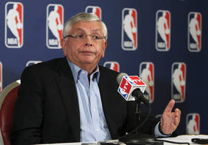Photo - NBA commissioner David Stern speaks to reporters after a meeting with the players' union, Thursday, June 30, 2011 in New York. Despite a three-hour meeting Thursday, the sides could not close the enormous gap that remained in their positions. (AP Photo/Mary Altaffer) ORG XMIT: NYMA110