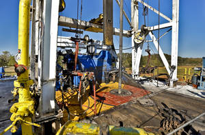 Photo - Continental Resources rig in Chickasha is shown.