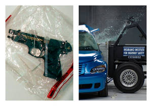 Photo - This combination of 2005 and undated file photos shows one of Charles A. McCoy Jr.'s guns included in evidence during his 2005 murder trial in Columbus, Ohio, left, and a side crash test on a 2008 PT Cruiser by the Insurance Institute for Highway Safety. Nearly as many Americans die from guns as from car crashes each year. We know plenty about the second group and little about the first. A lack of research on how to prevent gun violence has left policymakers shooting in the dark as they craft gun control measures without evidence of what works. (AP Photo/Tim Revell, Insurance Institute for Highway Safety)