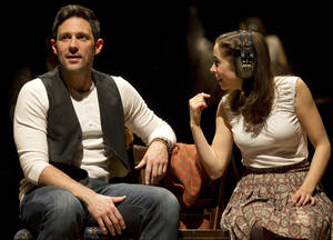 "Photo -   In this theater image released by Boneau/Bryan-Brown, Steve Kazee, left, and Cristin Milioti are shown in a scene from ""Once,"" in New York. The production was nominated for a Tony Award for best musical, Tuesday, May 1, 2012. (AP Photo/Boneau/Bryan-Brown, Joan Marcus)"