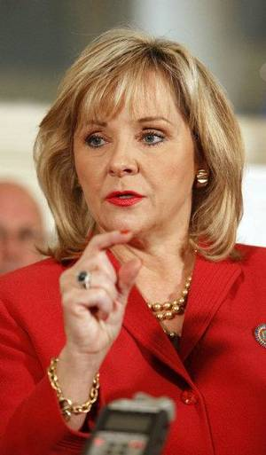 photo - Gov. Mary Fallin talks about her bridge improvement and turnpike modernization plan at the state Capitol in Oklahoma City Monday, Oct. 3, 2011. Photo by Paul B. Southerland, The Oklahoman ORG XMIT: KOD