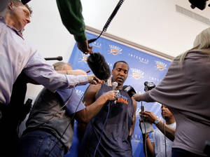 Photo - Oklahoma City's Kendrick Perkins talks to the media at the the Thunder practice facility, Saturday, Feb, 26, 2011, in Oklahoma City.Photo by Sarah Phipps, The Oklahoman