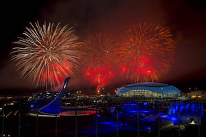 Photo - Fireworks explode over Olympic Park during the closing ceremony for the 2014 Winter Olympics, Sunday, Feb. 23, 2014, in Sochi, Russia. (AP Photo/Matt Slocum)