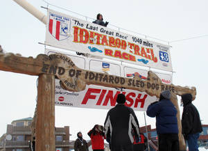 photo - Volunteers hang a banner above the burled arch, which serves as the finish line for the 1,000-mile Iditarod Trail Sled Dog Race in Nome, Alaska, on Monday, March 11, 2013. The race began March 3 in Willow, Alaska, and some race watchers predict a Tuesday finish. (AP Photo/Mark Thiessen)